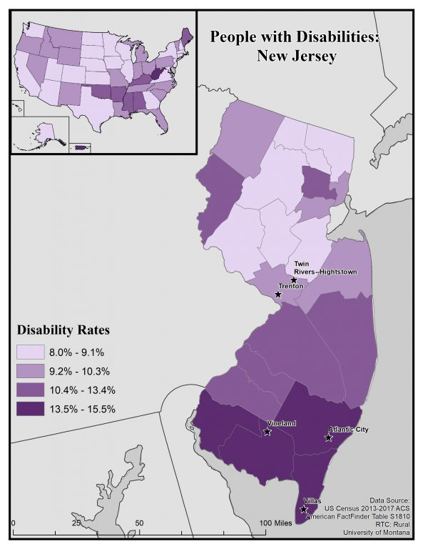 Map of New Jersey showing disability rates by county. See page for full text description.