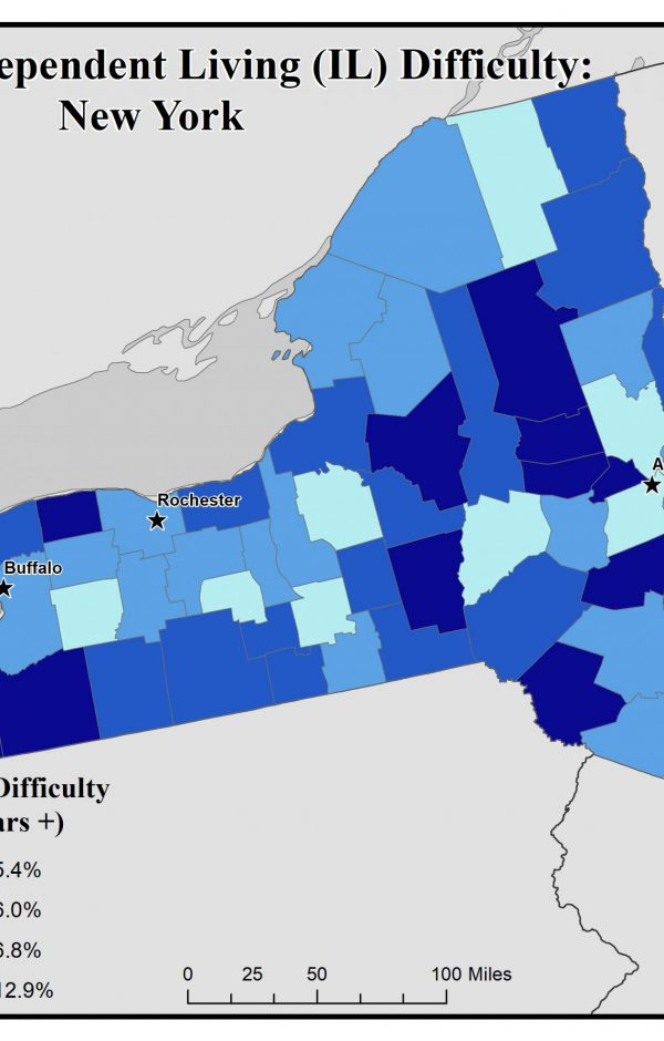 Map of New York showing rates of people with IL difficulty. See New York State Profile page for full text description.