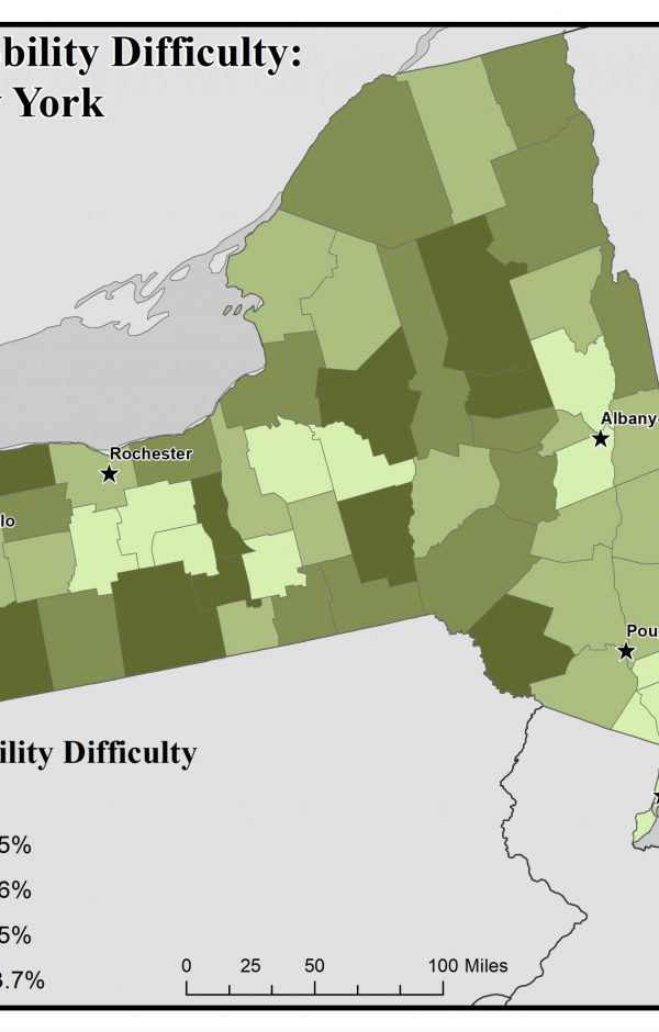 Map of New York showing rates of people with mobility difficulty by county. See New York State Profile page for full text description.