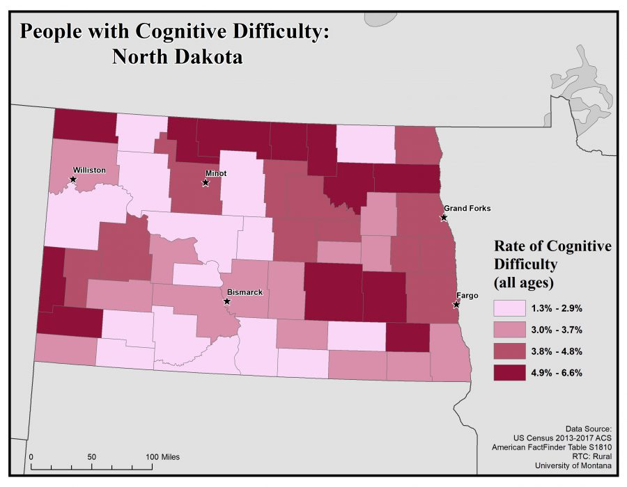 Map of North Dakota showing rates of people with cognitive difficulty. See North Dakota State Profile page for full text description.