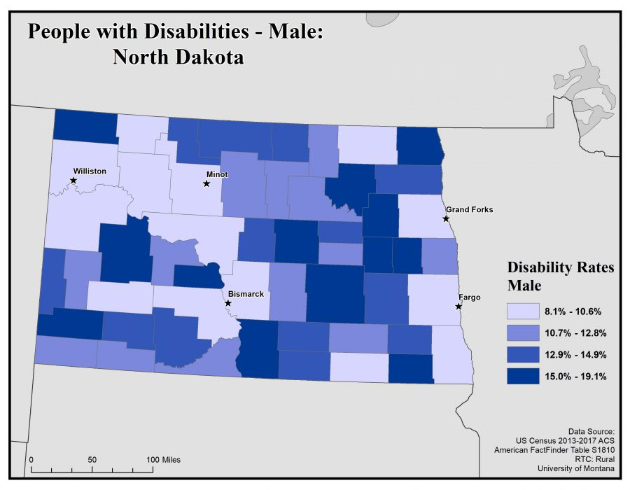 Map of North Dakota showing rates of males with disabilities. See North Dakota State Profile page for full text description.