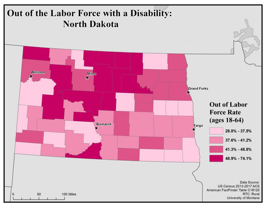 Map of North Dakota showing rates of people with disabilities who are out of the labor force.