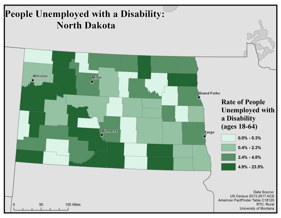 Map of North Dakota showing rates of people with disabilities who are unemployed. See North Dakota State Profile page for full text description.