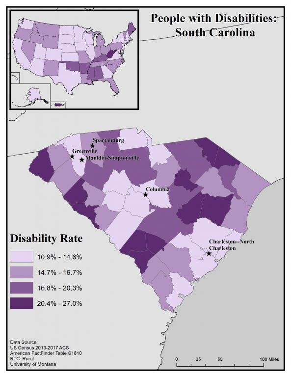 Map of South Carolina showing disability rates by county. See page for full text description.