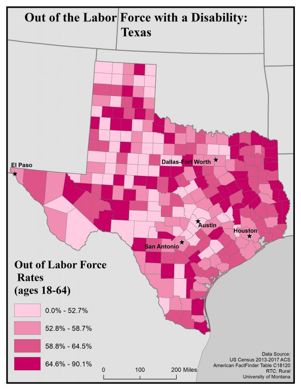 Map of Texas showing rates of people with disabilities who are out of the labor force, by county. See Texas State Profile page for full text description.