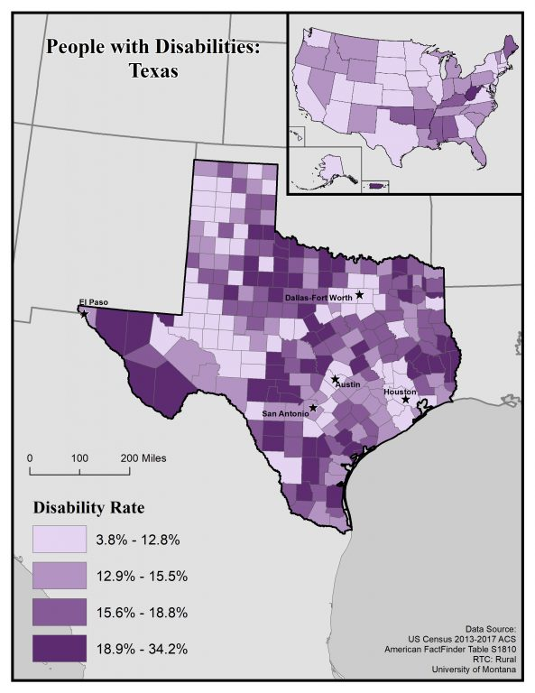 Map of Texas showing disability rates by county. See page for full text description.