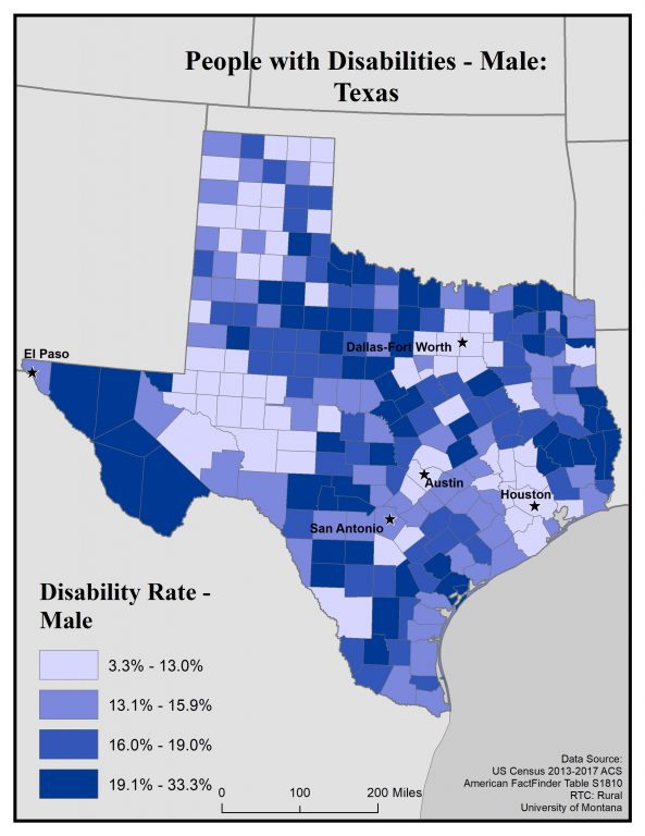 Map of Texas showing rates of males with disabilities by county. See Texas State Profile page for full text description.