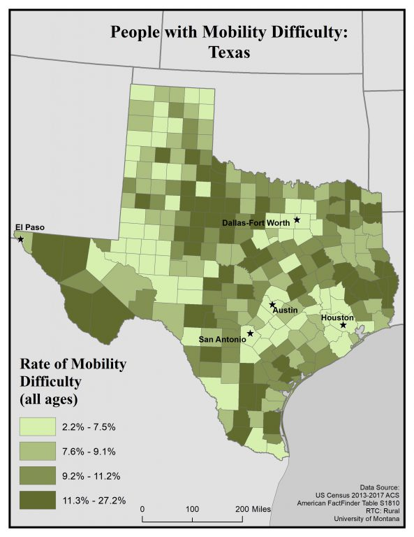 Map of Texas showing rates of people with mobility difficulty by county. See Texas State Profile page for full text description.