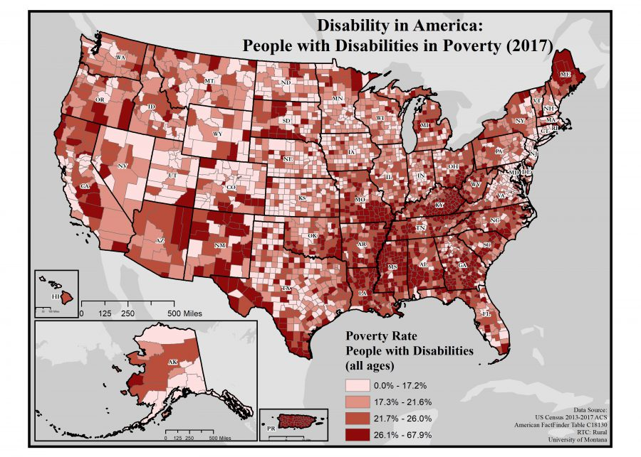 Map of rates of people with disabilitys in poverty by county in the US.