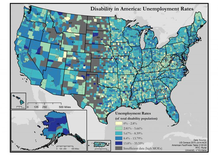 map of unemployment rates of people with disabilities in the US - click the link in this article for a full text description of the map