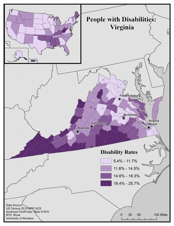 Map of Virginia showing disability rates at the county level. Text description on page.