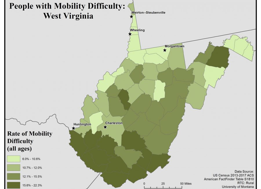 Map of West Virginia showing rates of people with mobility difficulty by county. See WV State Profile page for full text description.