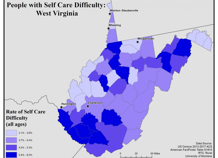 Map of West Virginia showing rates of people with self care difficulty by county. See WV State Profile page for full text description.