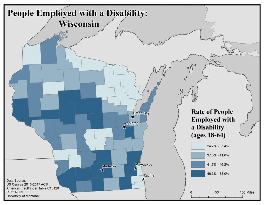 Map of Wisconsin showing rates of people with disabilities who are employed. See Wisconsin State Profile page for full text description.