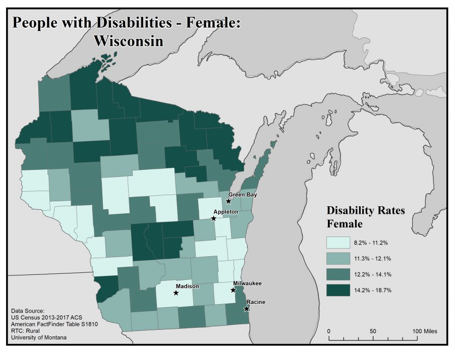 Map of Wisconsin showing rates of females with disabilities. See Wisconsin State Profile page for full text description.