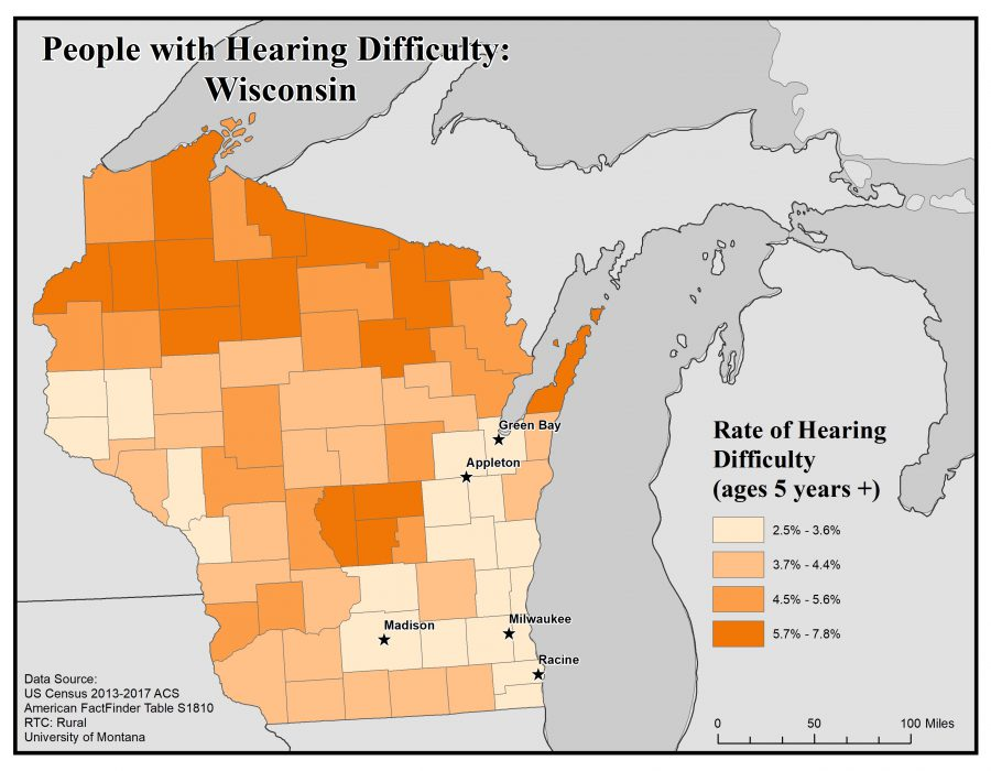 Map of Wisconsin showing rates of people with hearing difficulty. See Wisconsin State Profile page for full text description.