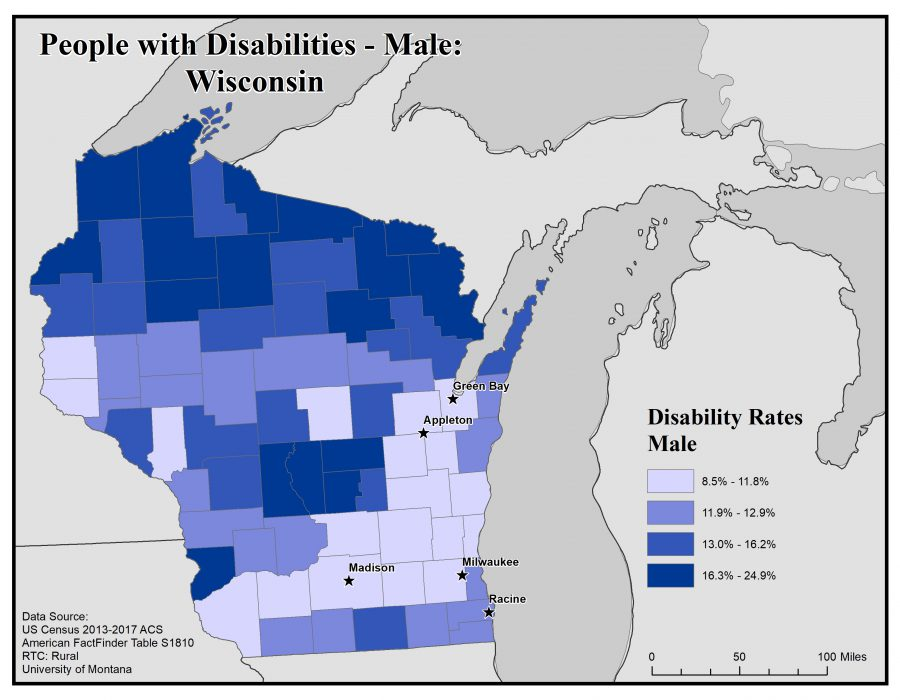 Map of Wisconsin showing rates of males with disabilities. See Wisconsin State Profile page for full text description.