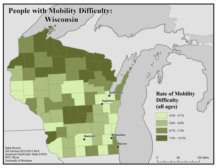 Map of Wisconsin showing rates of people with mobility difficulty. See Wisconsin State Profile page for full text description.
