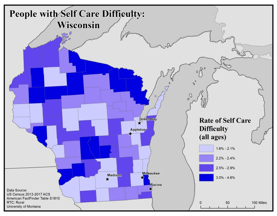 Map of Wisconsin showing rates of people with self care difficulty. See Wisconsin State Profile page for full text description.
