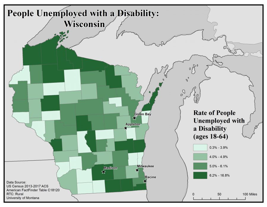 Map of Wisconsin showing rates of people with disabilities who are unemployed. See Wisconsin State Profile page for full text description.