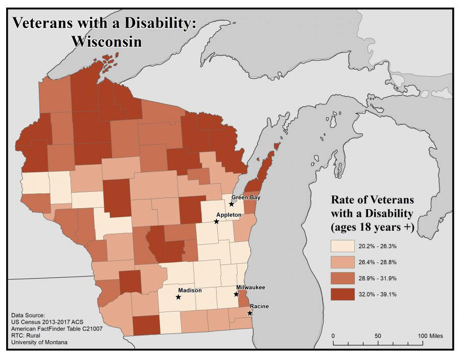 Map of Wisconsin showing rates of veterans with disabilities. See Wisconsin State Profile page for full text description.