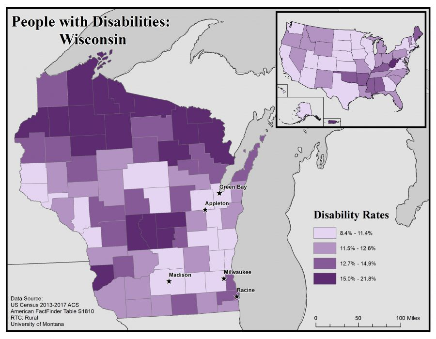 Map of Wisconsin showing disability rates by county. See Wisconsin State Profile page for full text description.