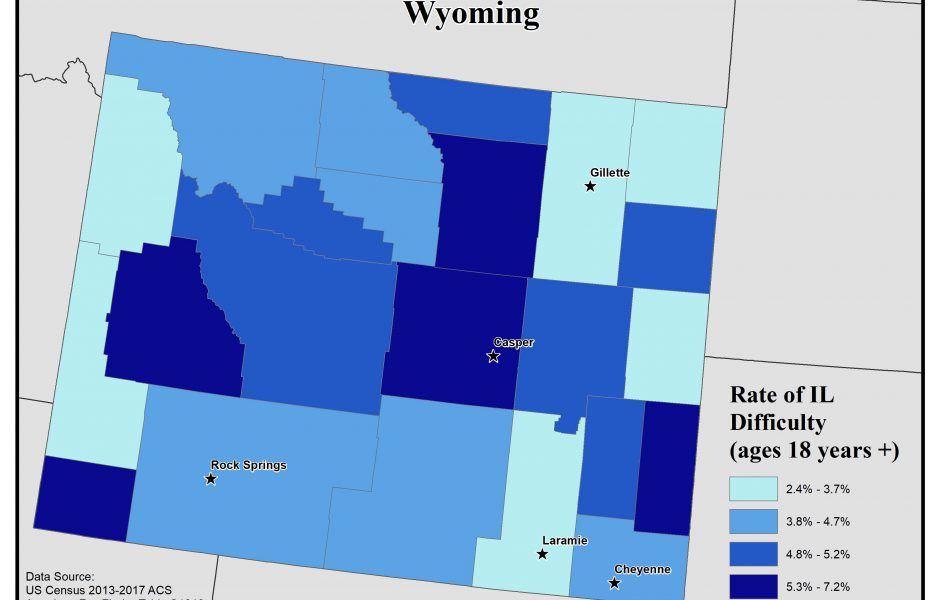 Map of Wyoming showing rates of people with IL difficulty by county. See Wyoming State Profile page for full text description.
