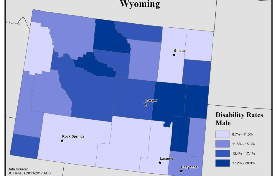 Map of Wyoming showing rates of males with disabilities. See Wyoming State Profile page for full text description.