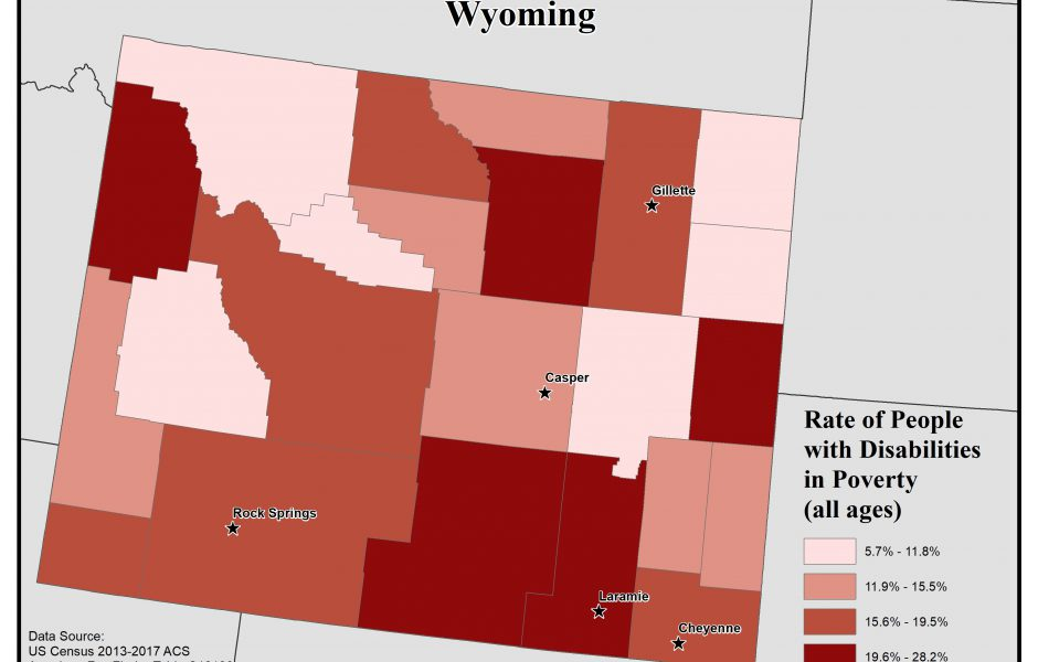 Map of Wyoming showing rates of people with disabilities in poverty. See Wyoming State Profile page for full text description.