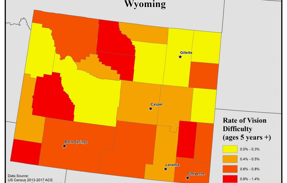 Map of Wyoming showing rates of people with vision difficulty by county. See Wyoming State Profile page for full text description.